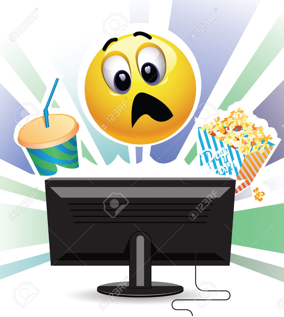 Smiley Being Shocked While Watching Movie On Tv Smiley Ball