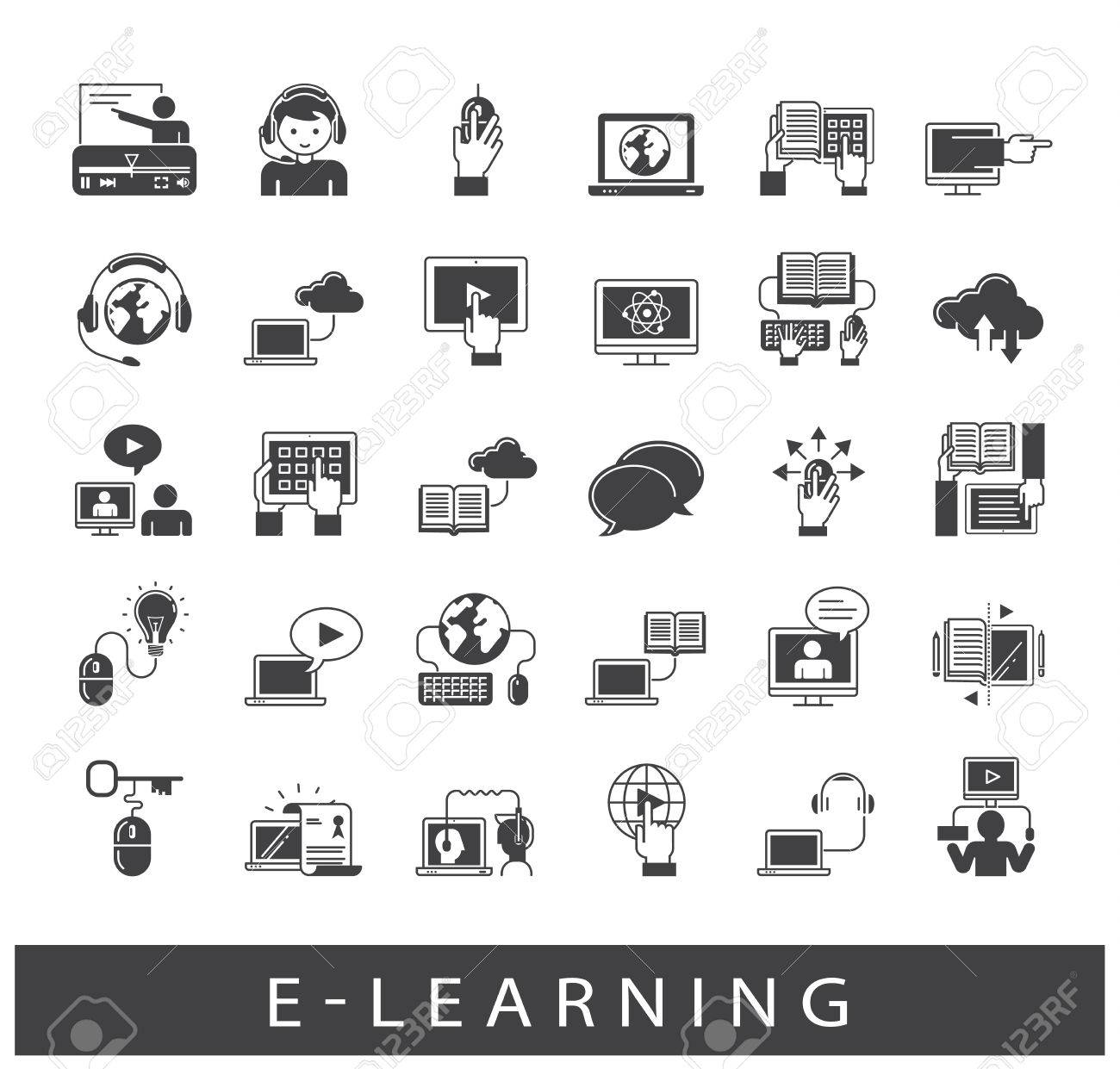 Collection Of E Learning Icons Icons Of Distance Learning Cloud Royalty Free Cliparts Vectors And Stock Illustration Image 68417098