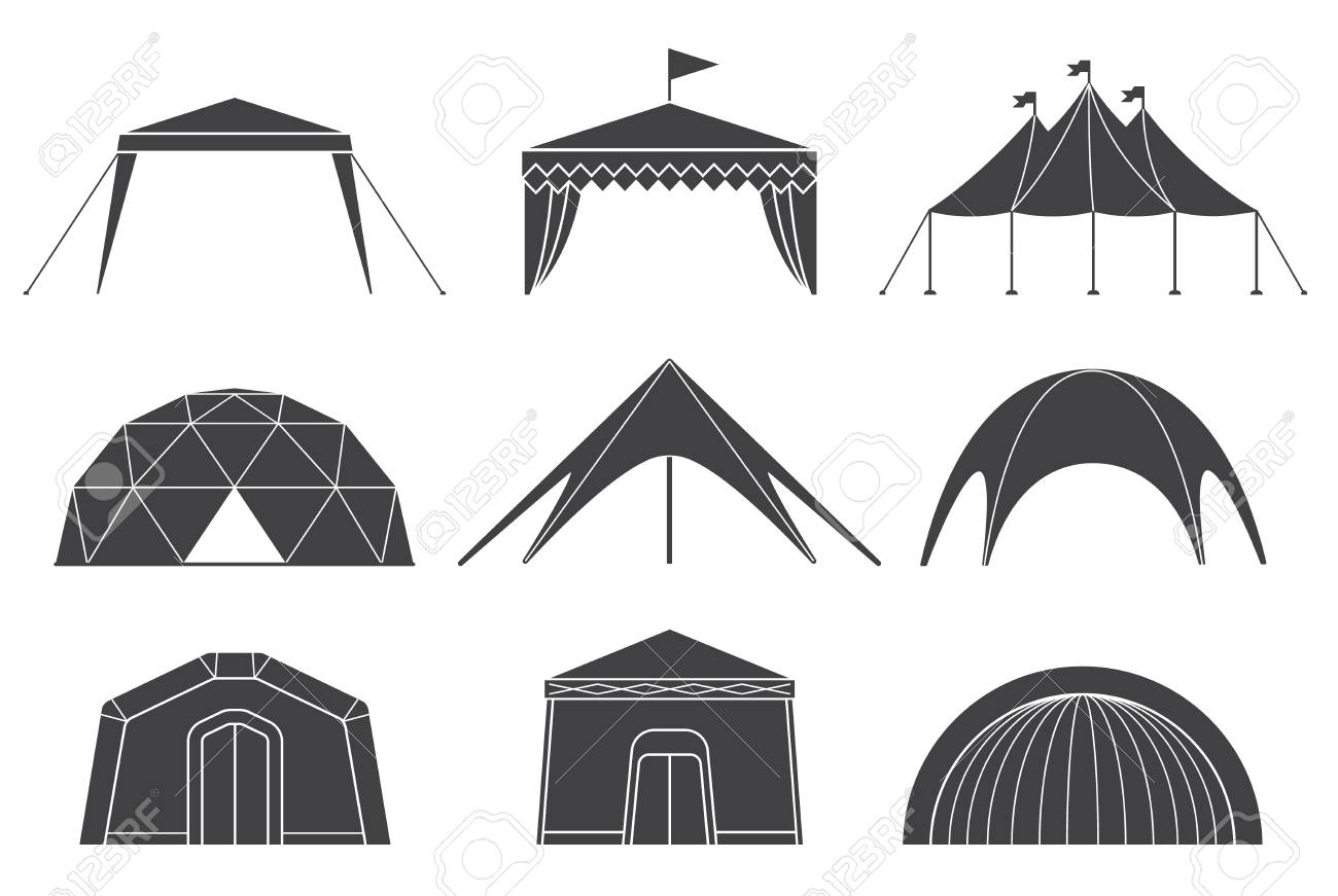 Set of various designs of tents for camping and pavilion tents. Tents for camping in the nature and for outdoor celebrations. Simple and lovable vector illustrations. - 71536150