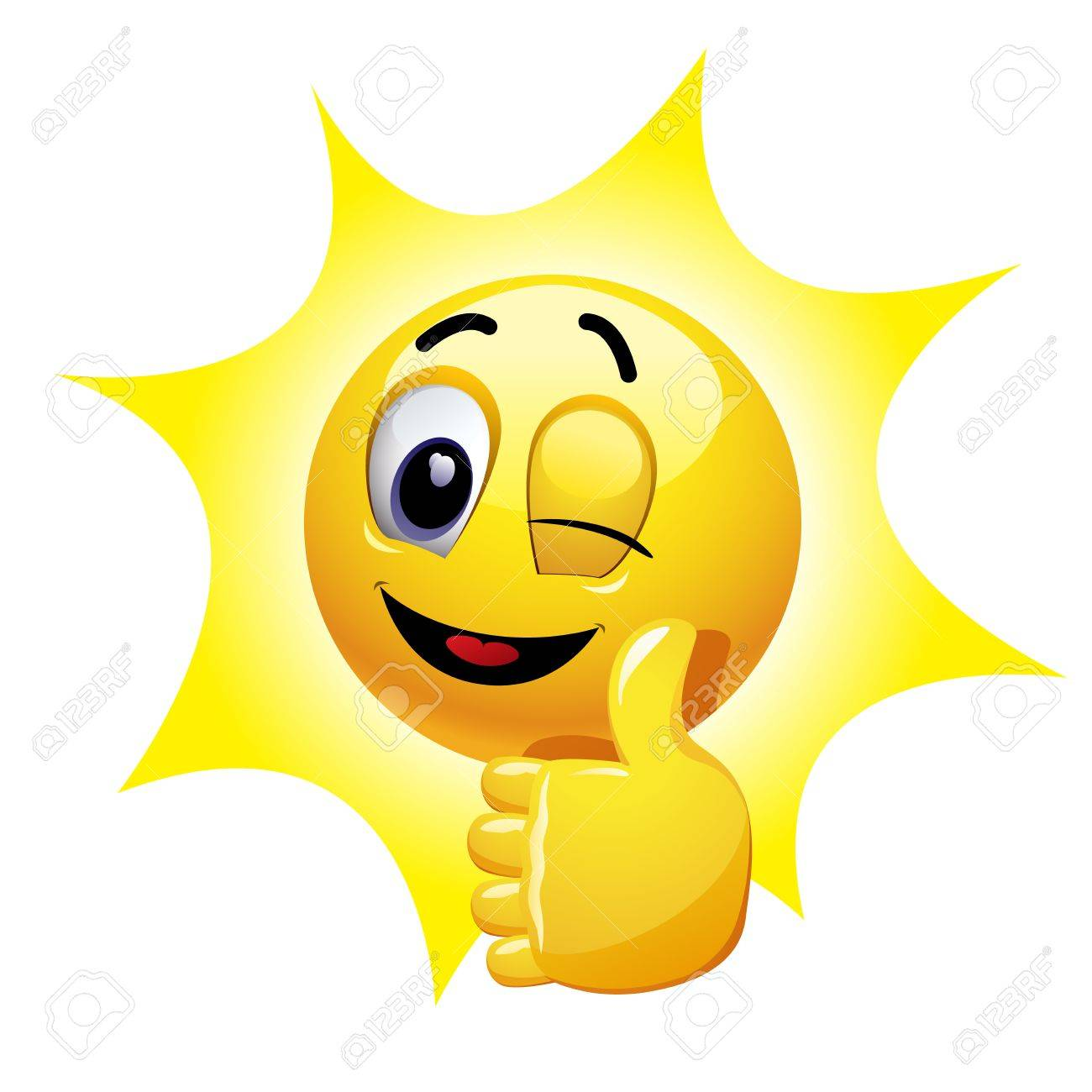 Winking smiley showing thumb up. Emoticon thumbs up showing positive mood. - 82766168