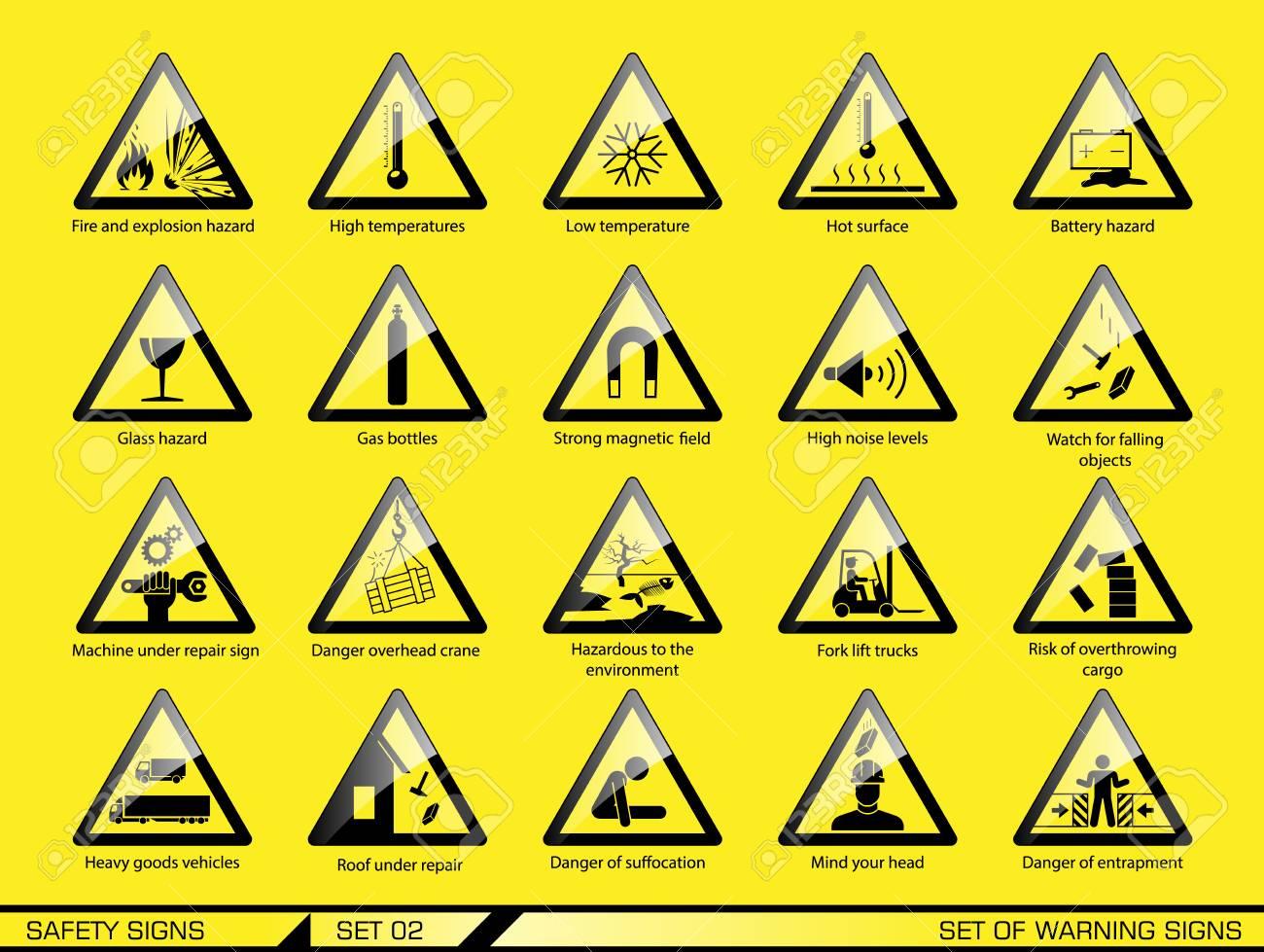 5404f65c55eb0 Conjunto de señales de advertencia de seguridad. Señales de peligro. Señales  de alerta.