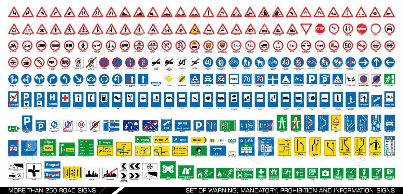 More than 250 road signs. Collection of warning, mandatory, prohibition and information traffic signs. European traffic signs collection. Vector illustration. - 83102873