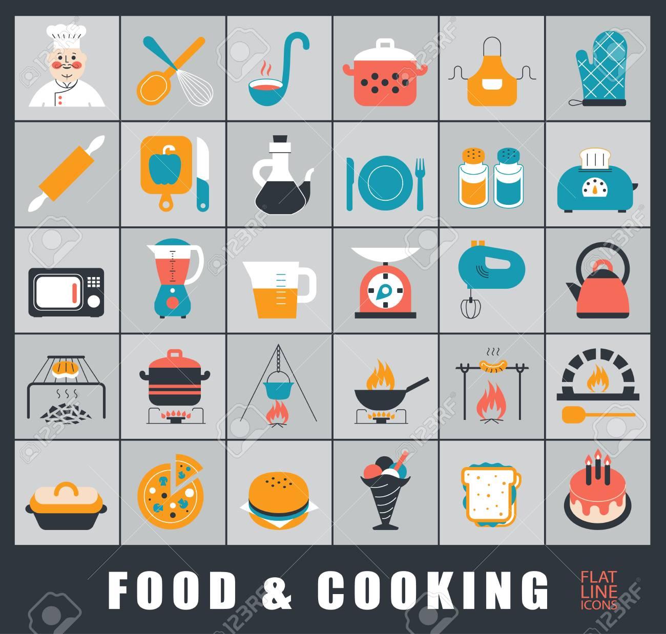 Set Di Icone Di Cibo E Cucina Di Alta Qualità. Cucinare E Preparare ...