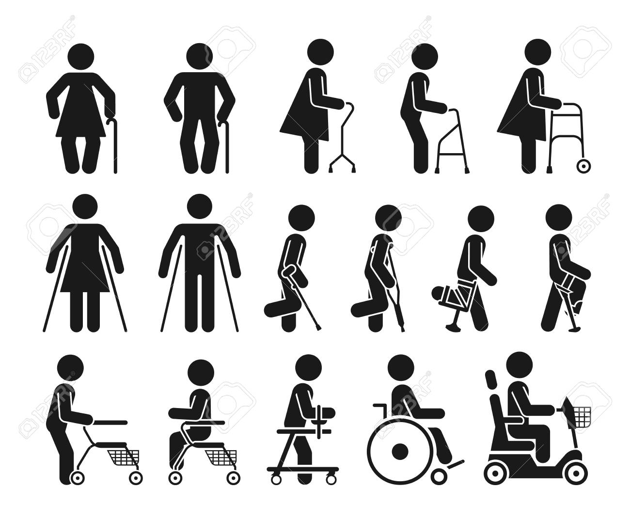 Set of icons which represent people using various orthopedic equipment. Pictograms that represent handicapped, elderly and injured people who use orthopedic accessories and wheel chair to help them move. - 90149019