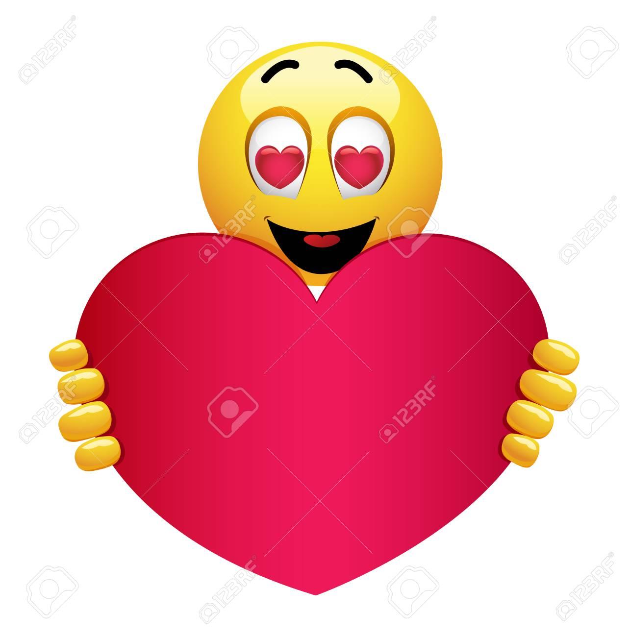 Emoji Smiley Mignon Etant Amoureux Smiley Tenant Un Gros Coeur Rouge Emoticone Souriante Avec C Ur Dans Les Yeux Clip Art Libres De Droits Vecteurs Et Illustration Image 101246726
