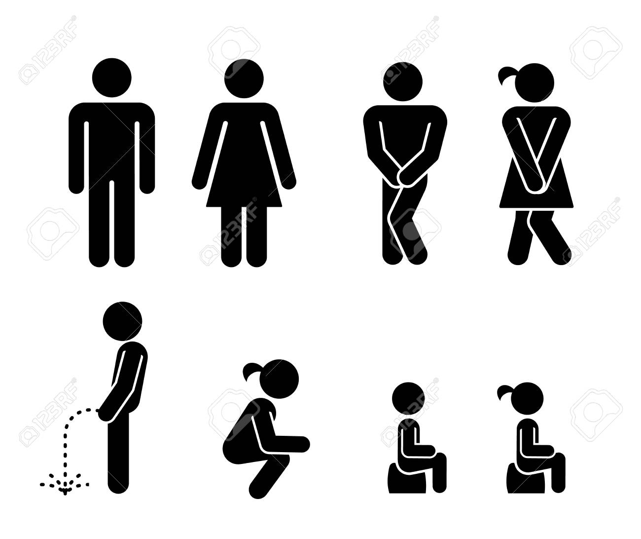 . Set of toilet signs  WC icons  Toilet labels  Restroom Signs