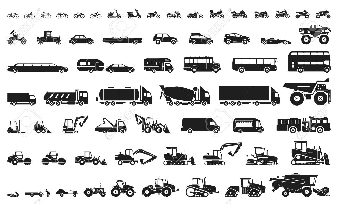 Set of various transportation and construction machinery. Icons of Motorcycles and bicycles, cars, heavy trucks, Heavy-duty vehicles and buses. - 115570464