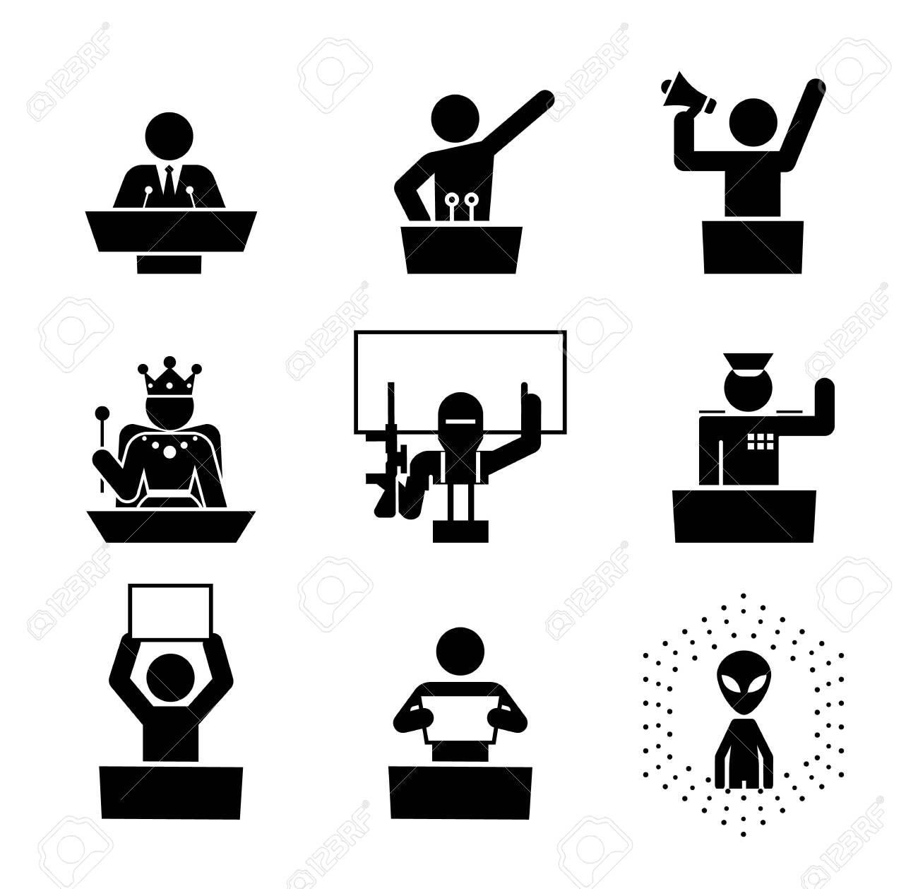 Politicians speakers. Icon set of debate rostrum and podium. Collection of pedestal, tribune and podium with microphone for conference. - 142632465