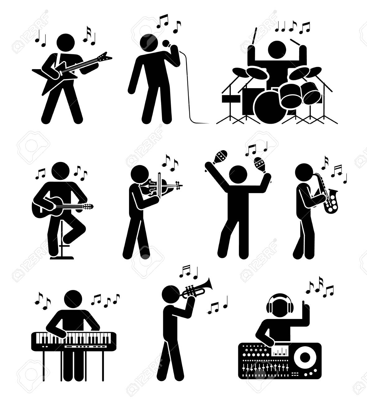 Pictogram icon set of different types of musicians. Different types of musical instruments. Club music. - 142632716