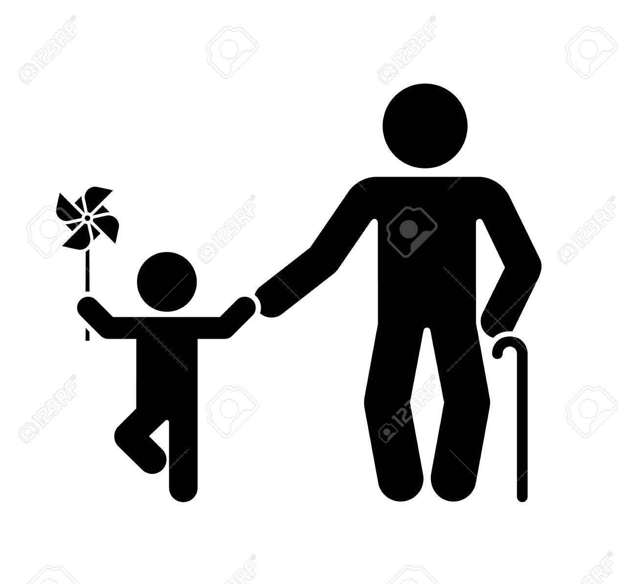 Pictogram that represents the grandfather and grandson. Different stages of human life. - 146843141