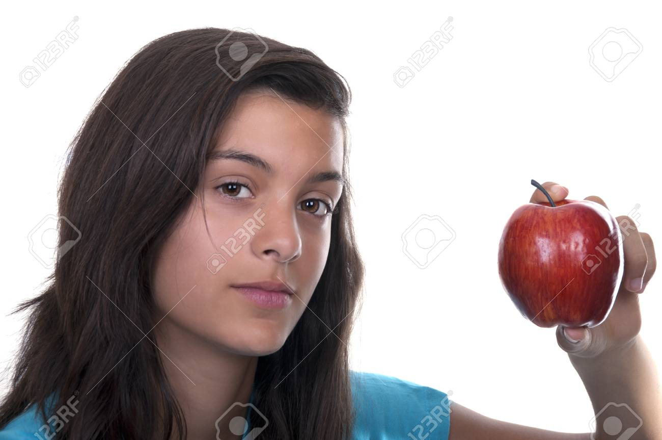 teenage girl with red apple on white background Stock Photo - 10411795