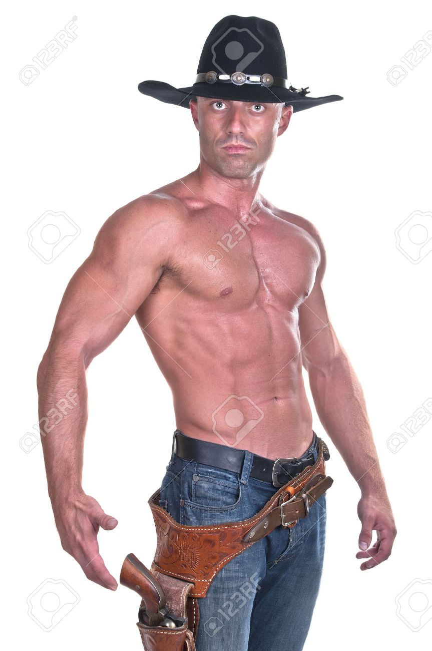 muscular cowboy with gun on white background stock photo picture