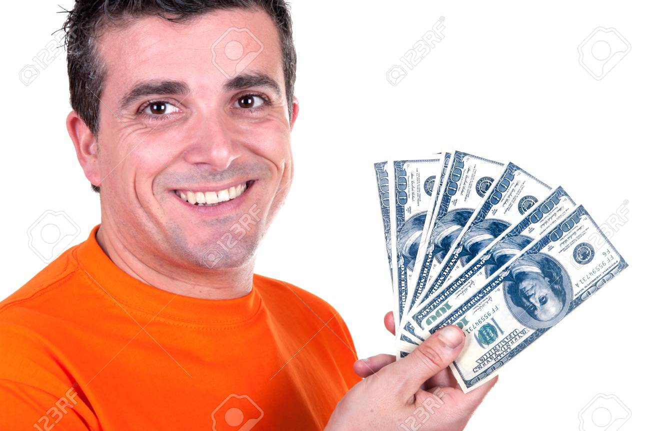 smiling man with 100  bills on white background Stock Photo - 15177411