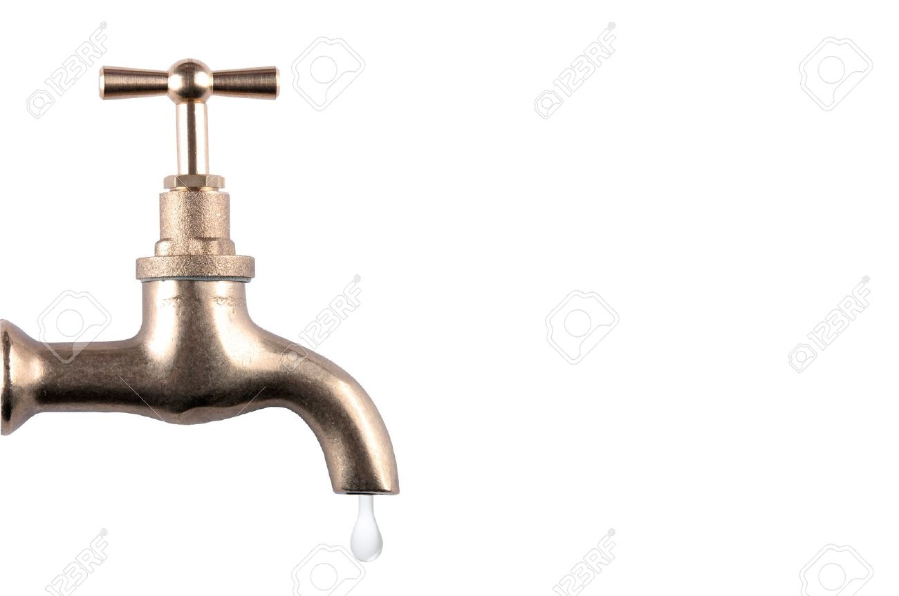 Water Faucet With Drop On White Background Stock Photo, Picture And ...