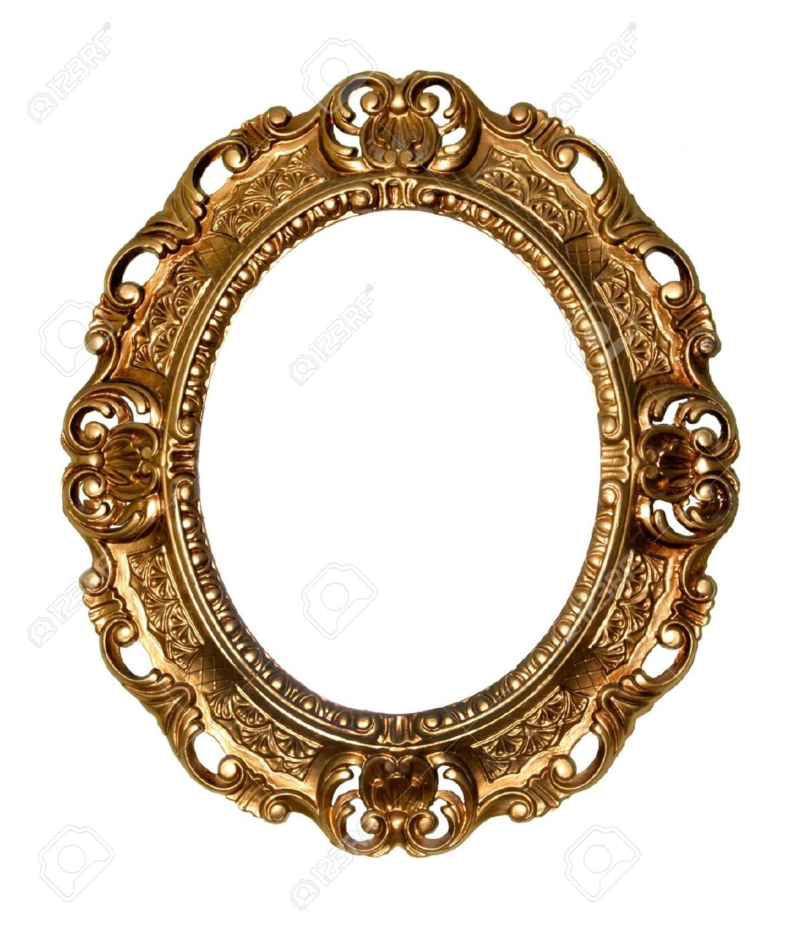 gold gilded frames retro gold frame oval on white background