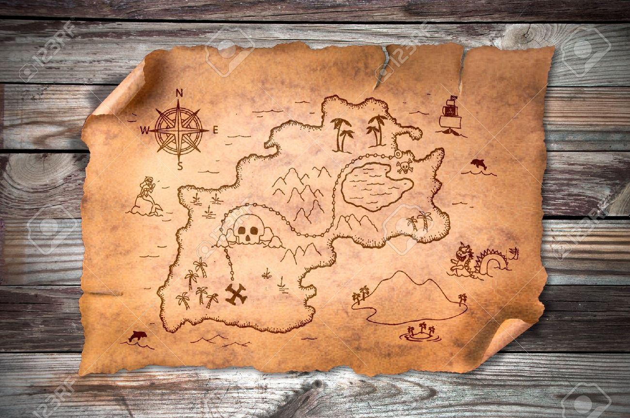 old treasure map on wooden grunge background stock photo picture