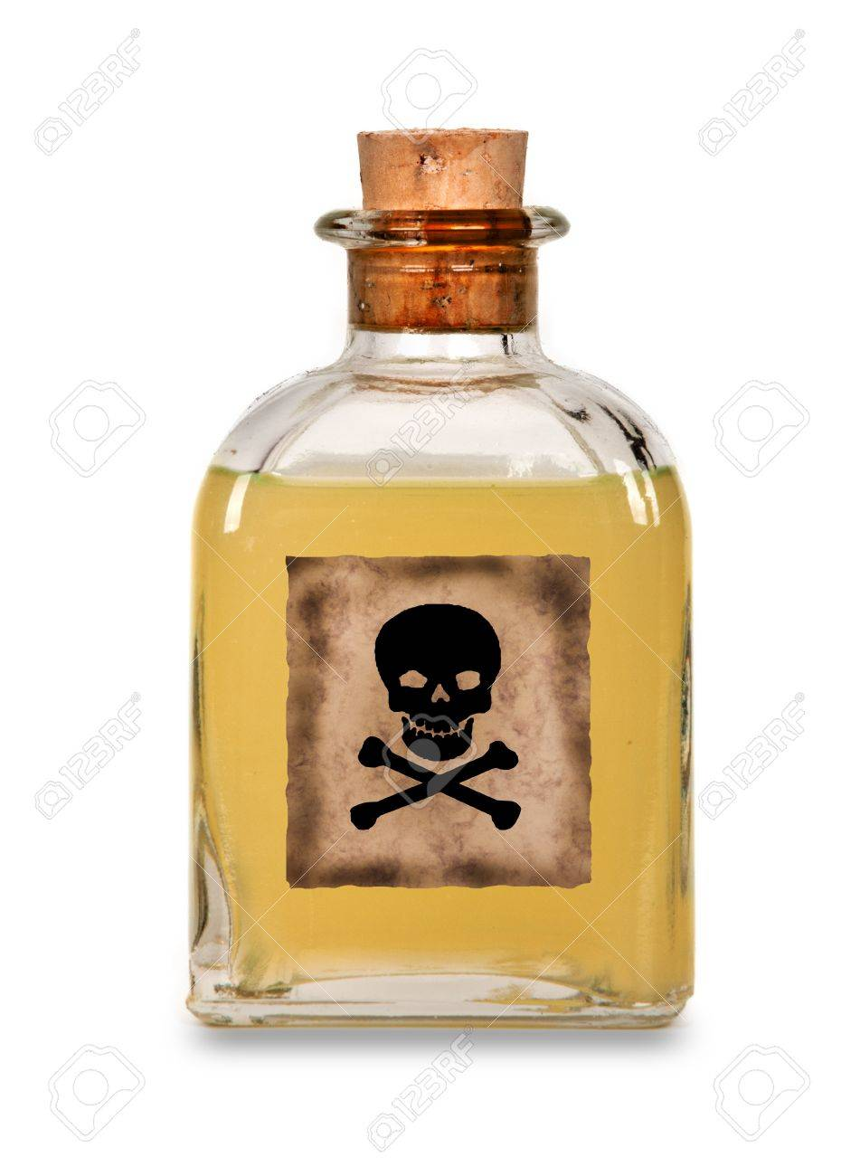 Glass bottle of poison on a white background Stock Photo - 15983049