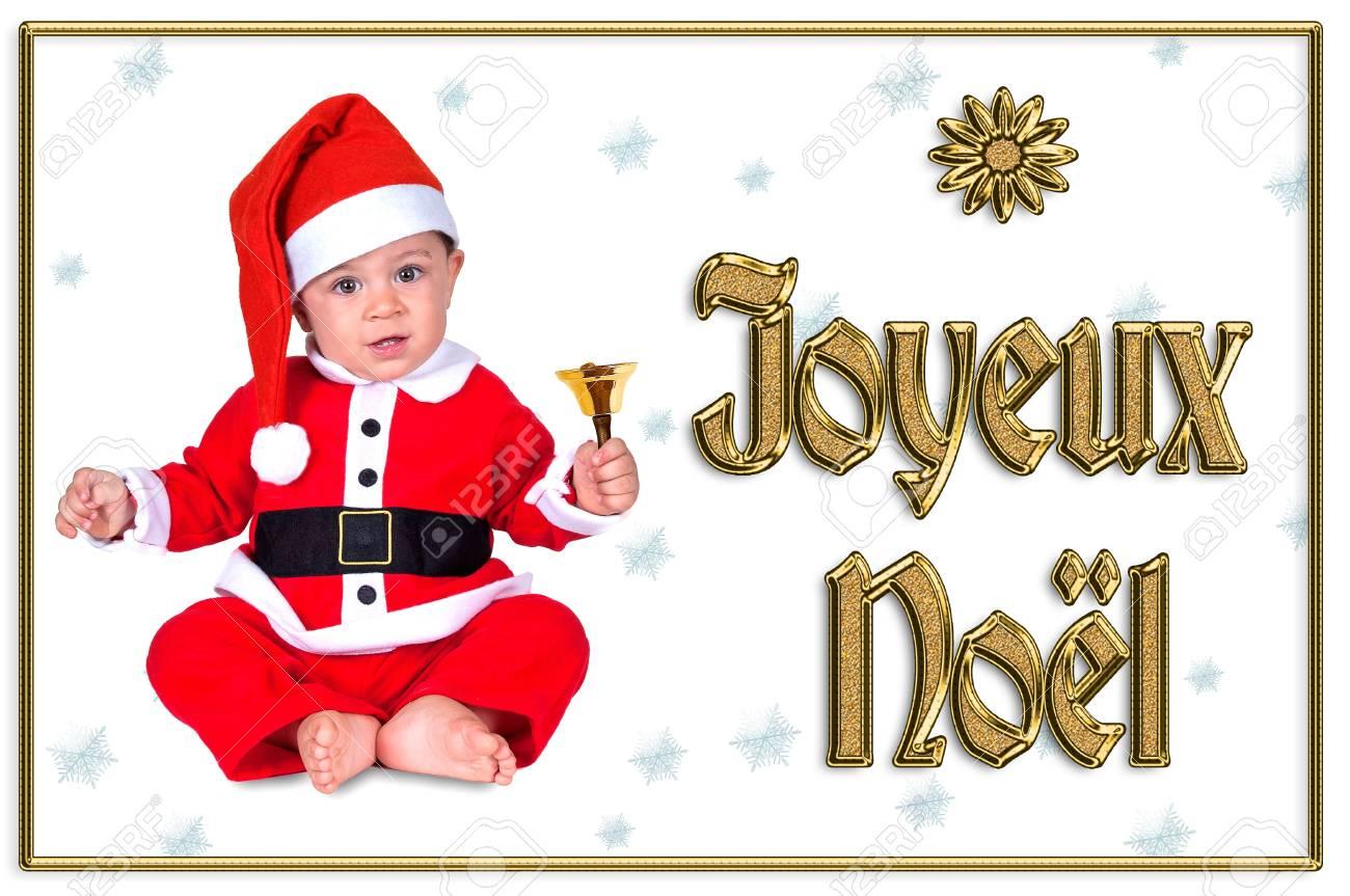 cute Christmas baby, joyeux noël golden text Stock Photo - 16790895