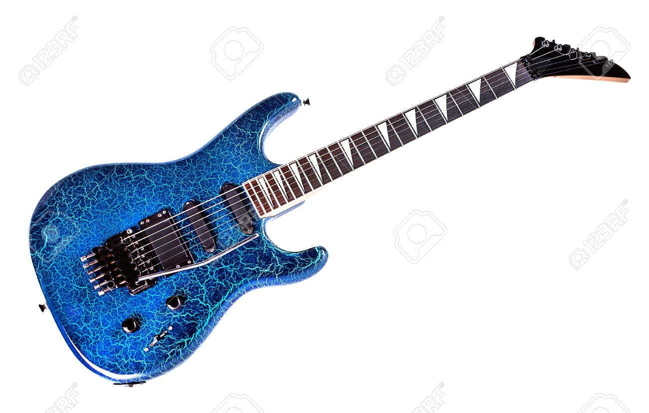 Classic Shape Blue Electric Guitar On White Background