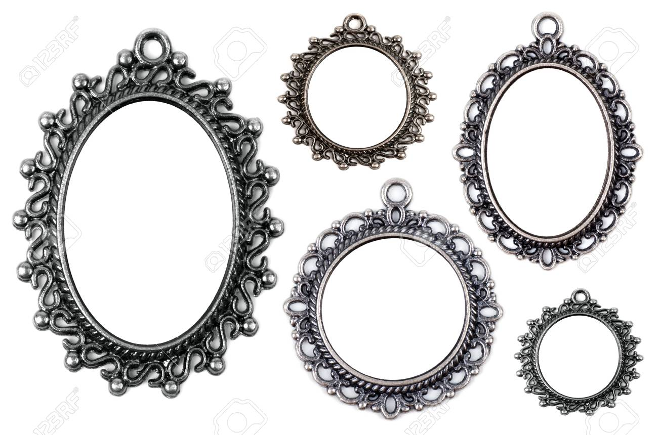 Vintage Metal Medallion Frames, Isolated On White Stock Photo ...