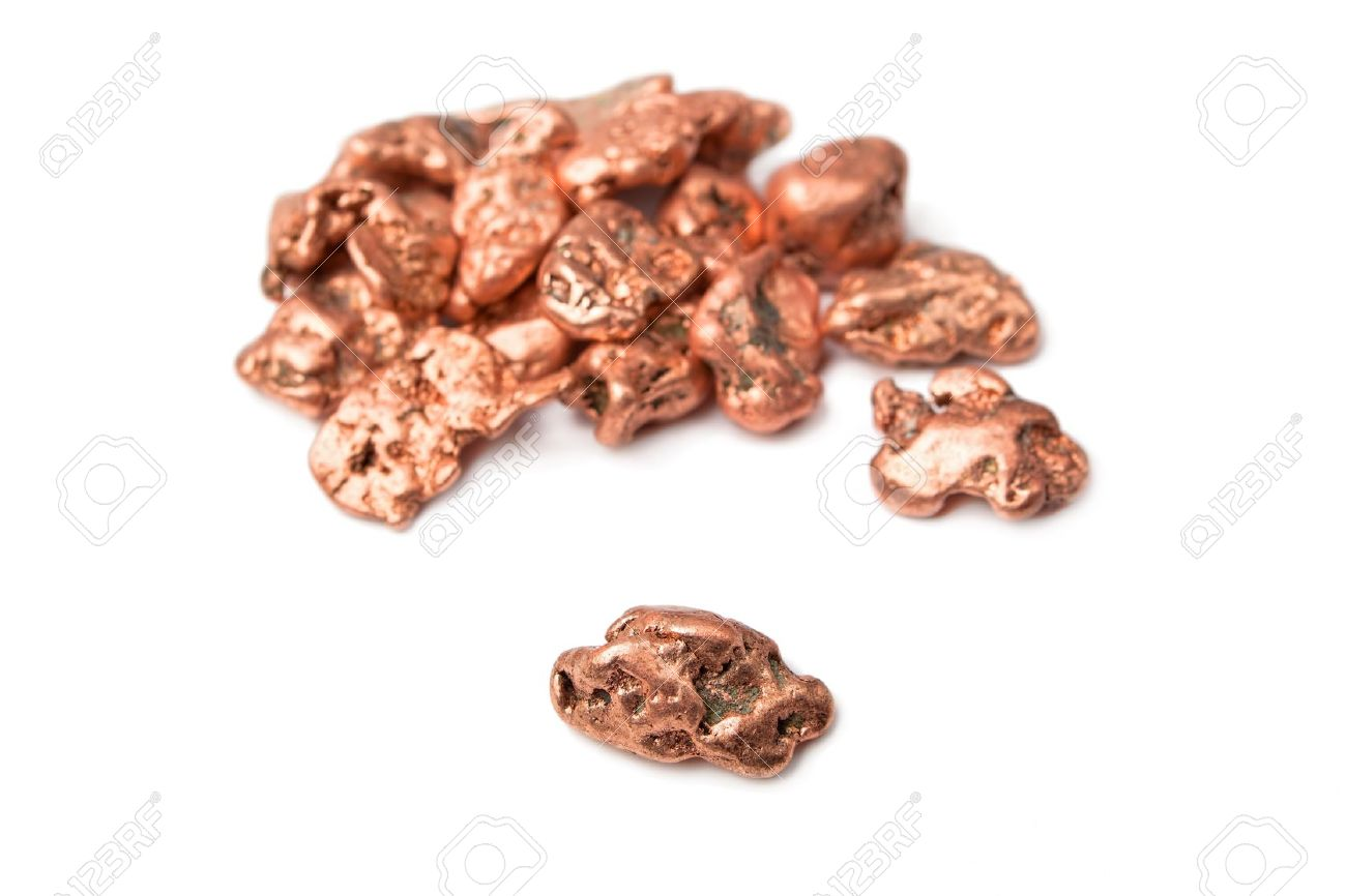 Copper nuggets - in a heap and one aside, isolated on white. Stock Photo - 9585680