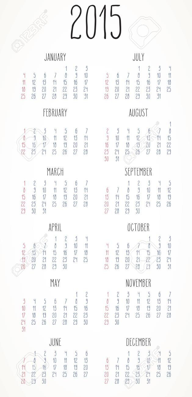 simple hand written calendar layout for year 2015 over white stock vector 34731480