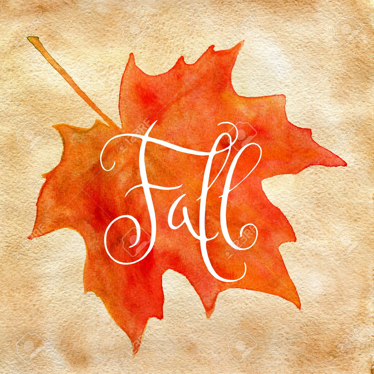 orange watercolor autumn maple leaf and handwritten word fall