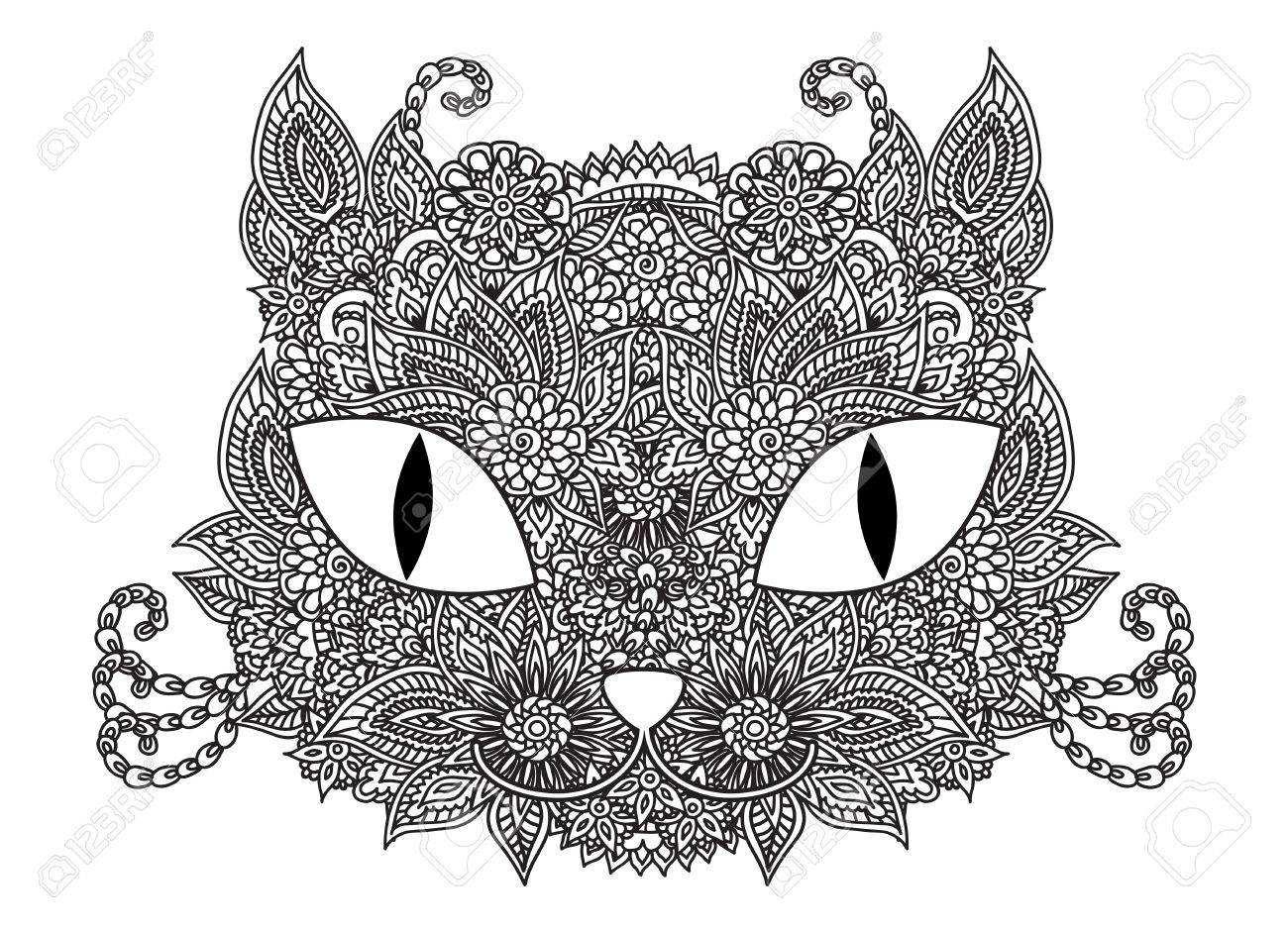 Kleurplaten Volwassenen Abstract.Hand Getekende Schets Vector Kat Snuit Illustratie Met Abstract Floral Ornament Geisoleerde Over Wit Kleurplaat Voor Kinderen En Volwassenen