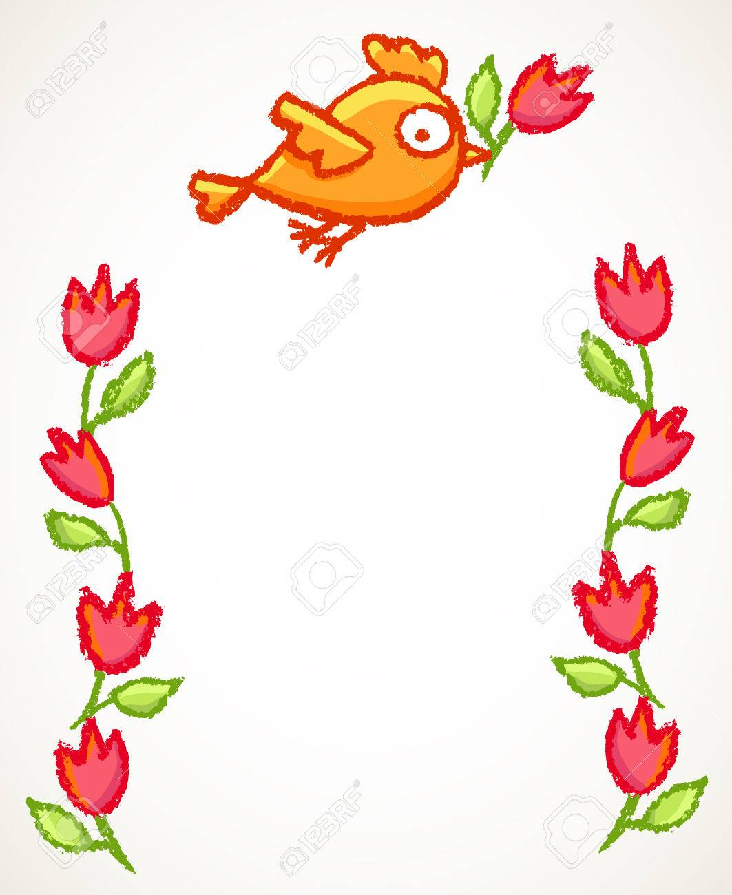 93ff2acf00a Cute little hand drawn orange bird and red flowers frame. Cartoon vector  border with funny
