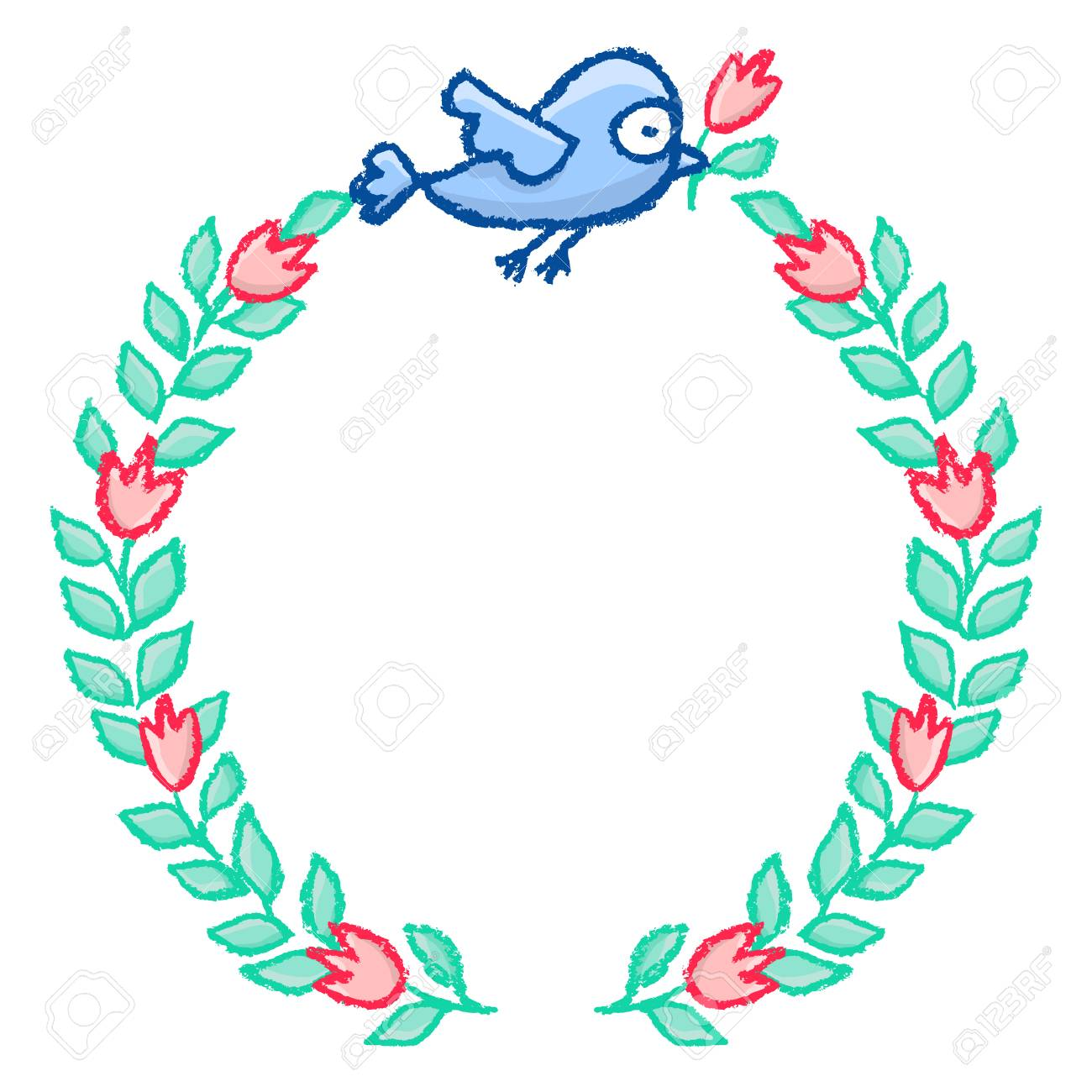 Hand drawn little blue bird and flower wreath cartoon vector hand drawn little blue bird and flower wreath cartoon vector floral frame isolated over white izmirmasajfo Gallery