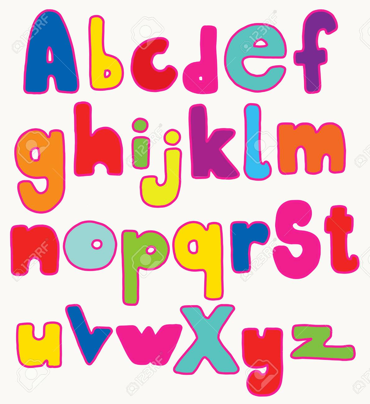 Full Set Of Hand Drawn Colorful Fat Cartoon Letters, Isolated ...