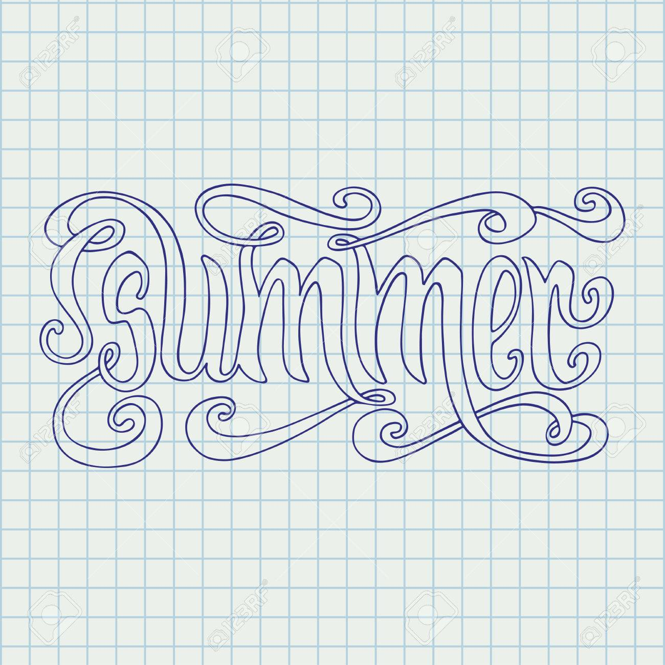 Hand drawn blue word Summer over squared notebook page background