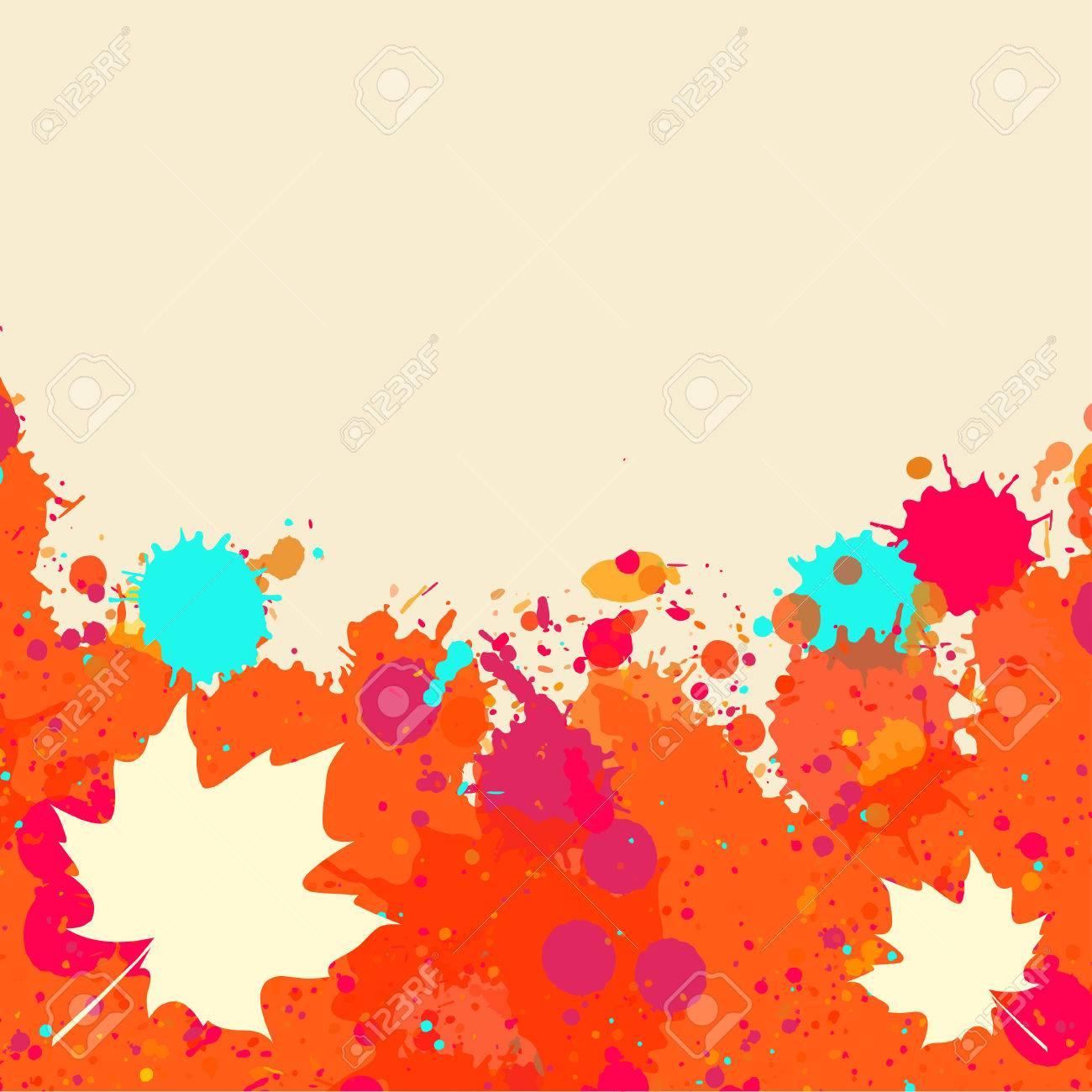 Helle Orange Und Rot Aquarell Farbe Splatter-Rahmen Mit Herbst ...