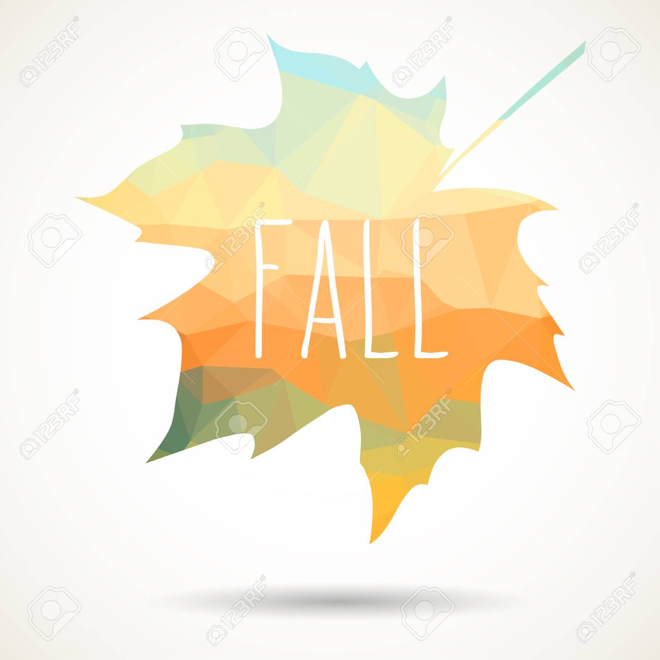 maple leaf in triangular style with hand drawn word fall royalty