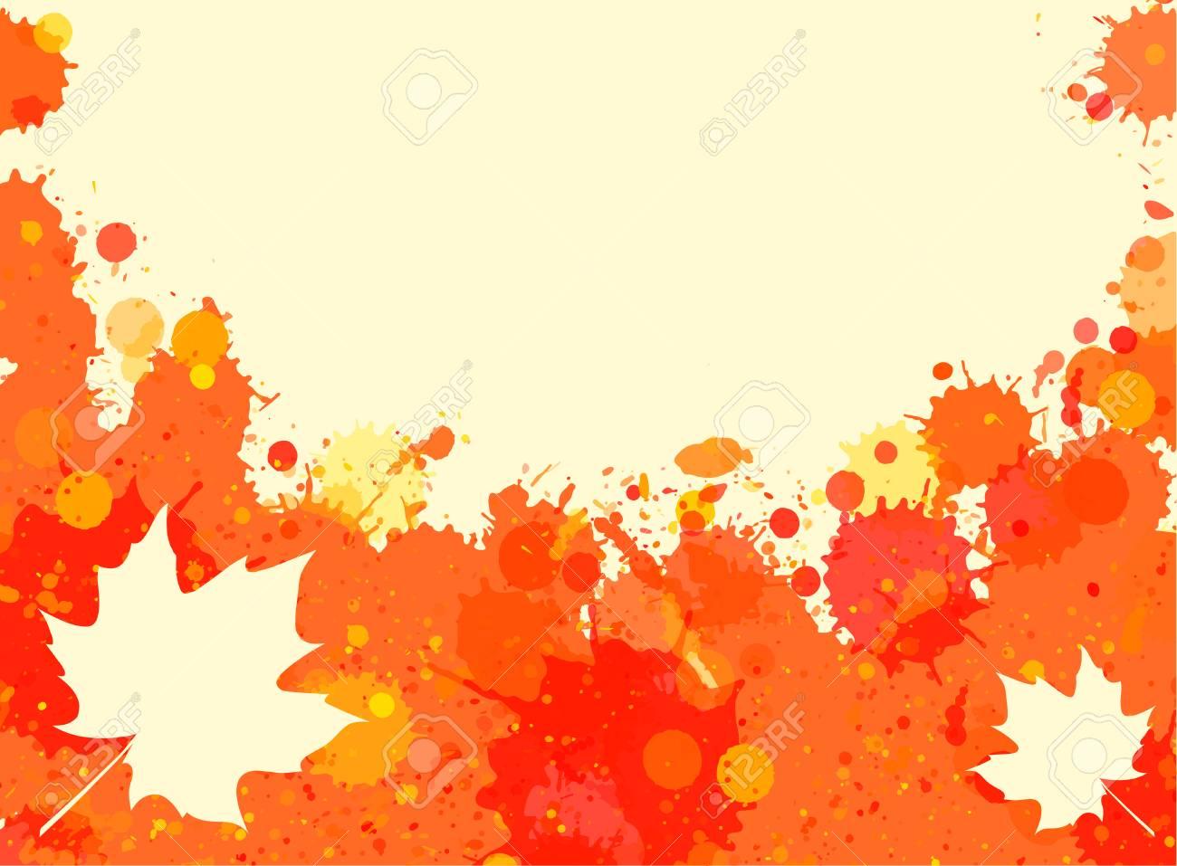 Helle Orange Aquarell Malen Splatter-Rahmen Mit Herbst Ahornblätter ...