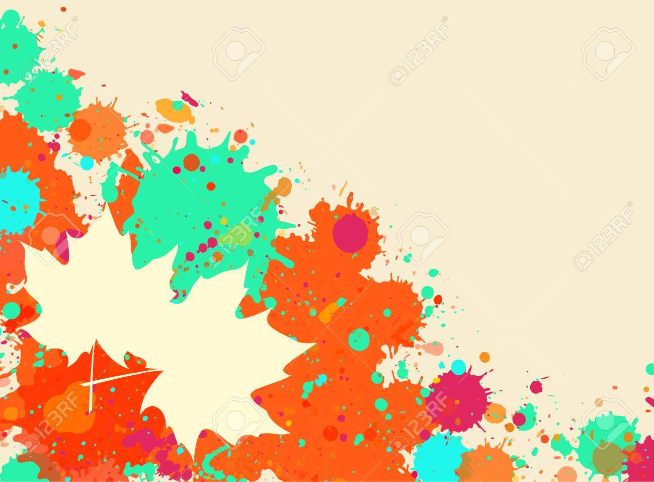 Helle Orange Und Grün Aquarell Farbe Splatter-Rahmen Mit Herbst ...