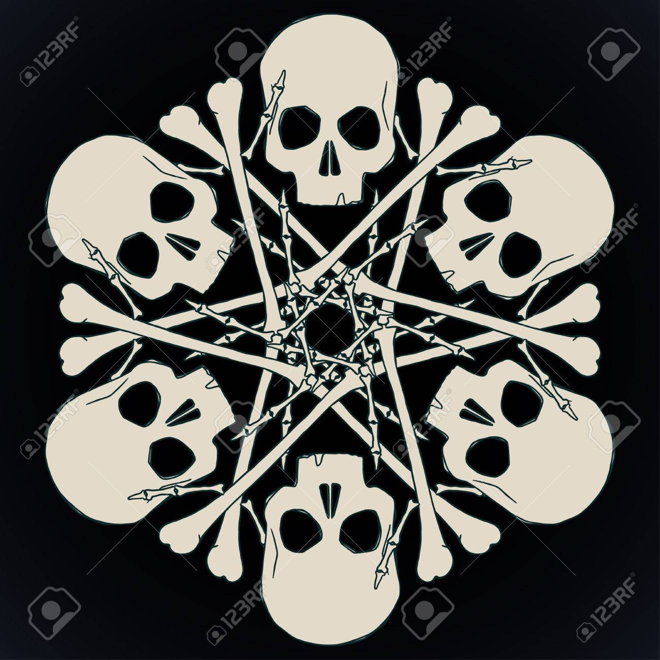 Snowflake Made Of Skulls And Bones In Beige Isolated Over Black