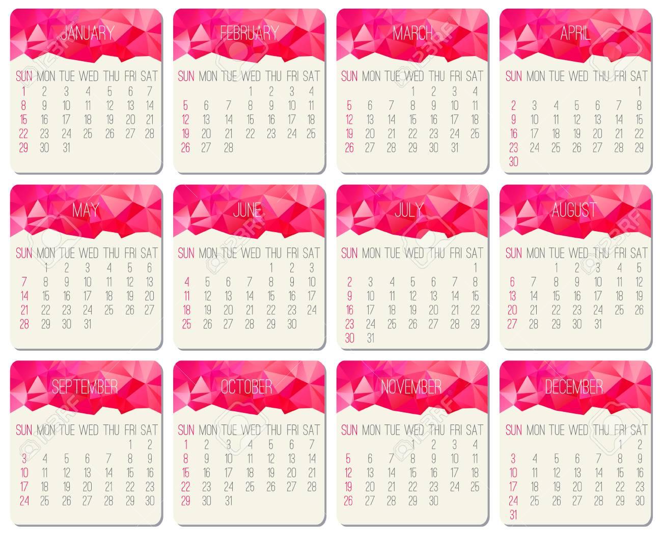 Calendario Del Ano 1965.Ano 2017 Vector Calendario Mensual Semana Comenzando Desde El Domingo Diseno Contemporaneo De Poli Baja En Color Rosa Intenso