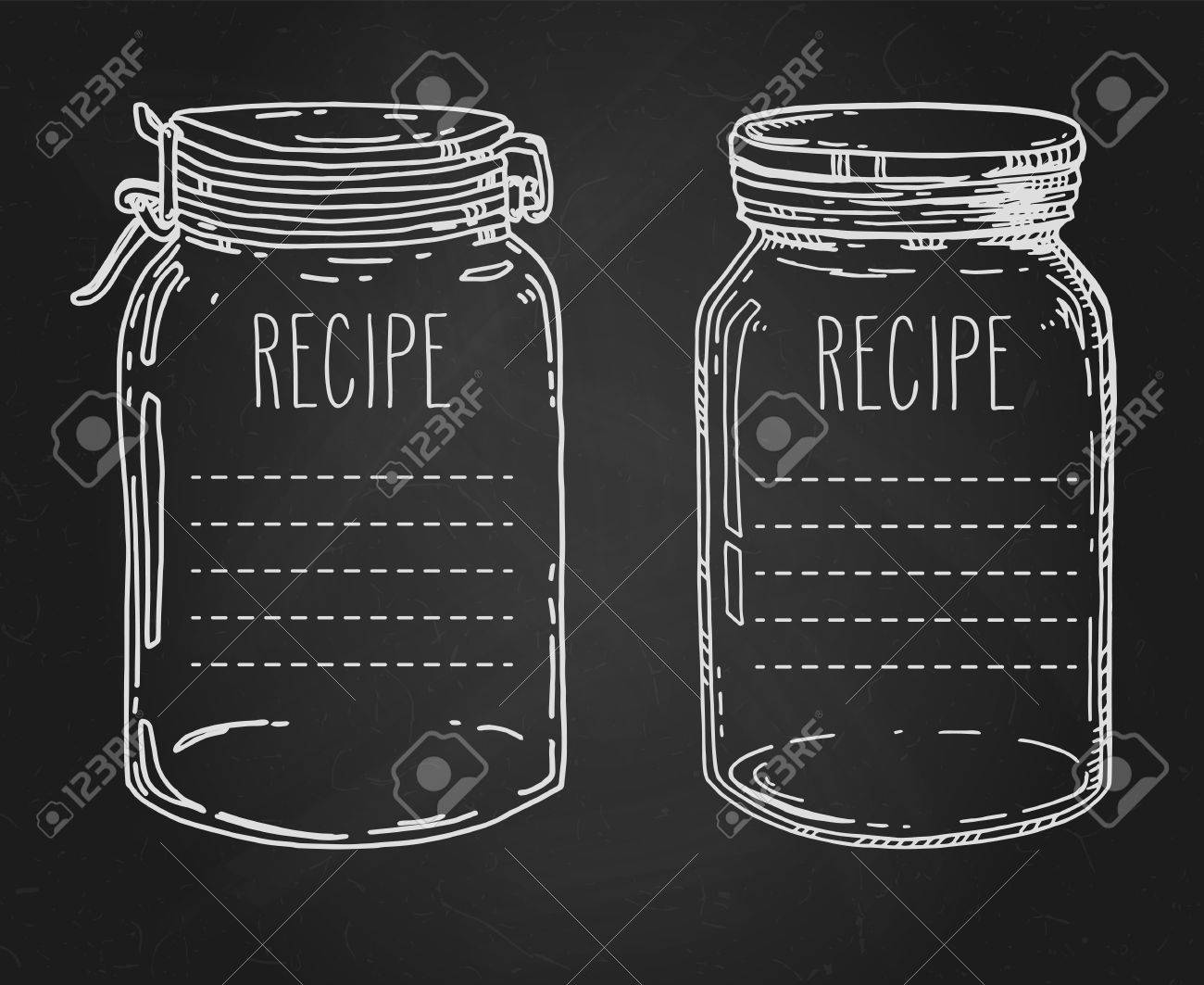 Recipe Templates. Vector Hand Drawn Illustration With Vintage ...