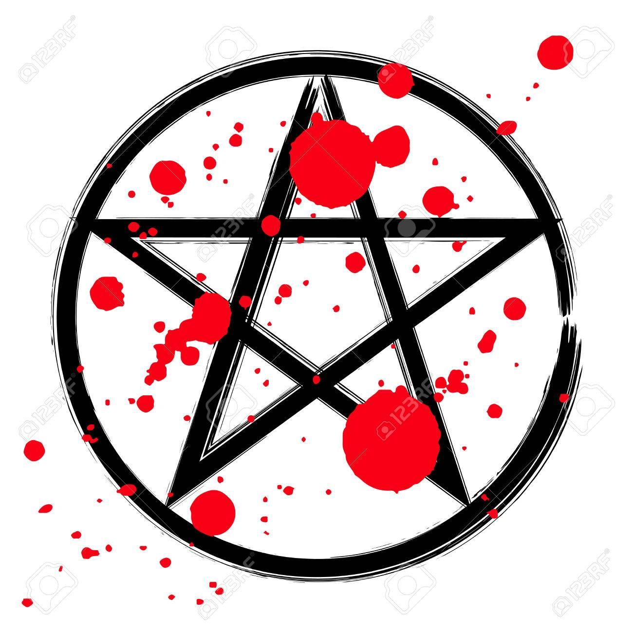 Pentagram icon brush drawing magic occult star symbol in a circle pentagram icon brush drawing magic occult star symbol in a circle with drops of blood biocorpaavc Choice Image