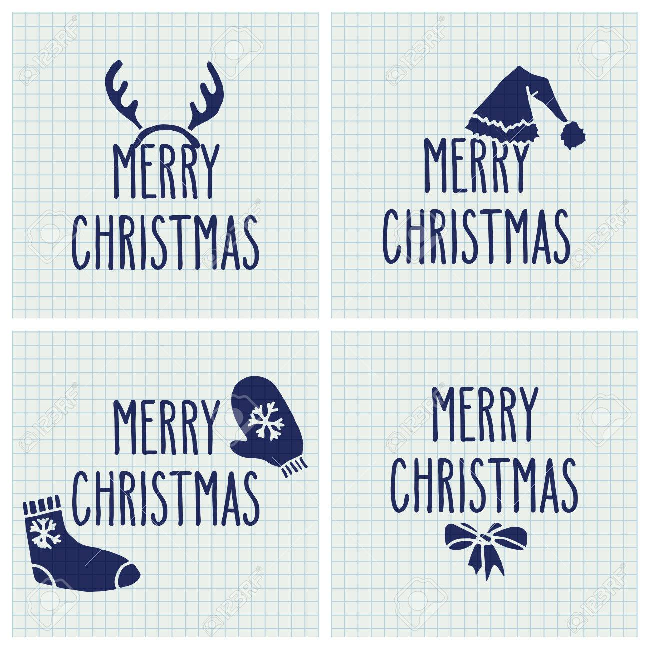 Set Of Vector Hand Drawn Doodle Greeting Cards With Merry Christmas