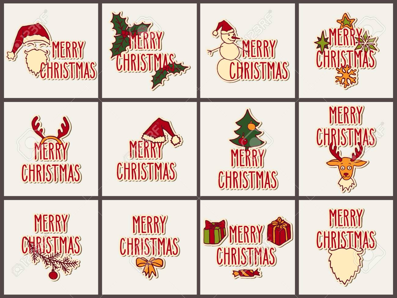 Big Set Of Vector Christmas Hand Drawn Doodle Greeting Cards