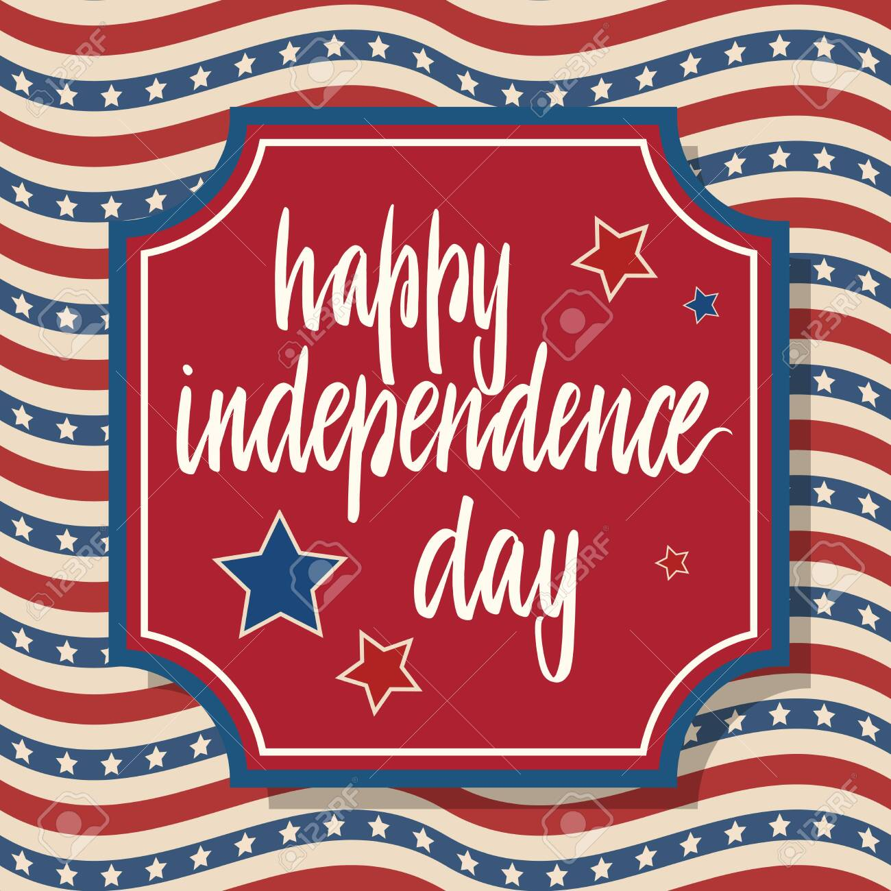 United States Independence Day greeting card. American patriotic design. Hand drawn lettering over red frame and traditional stars and stripes background. - 121827562