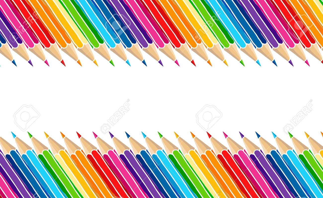 Bright multicolor pencils border isolated over white. Art stationery hand drawn vector illustration blank frame. - 107912104