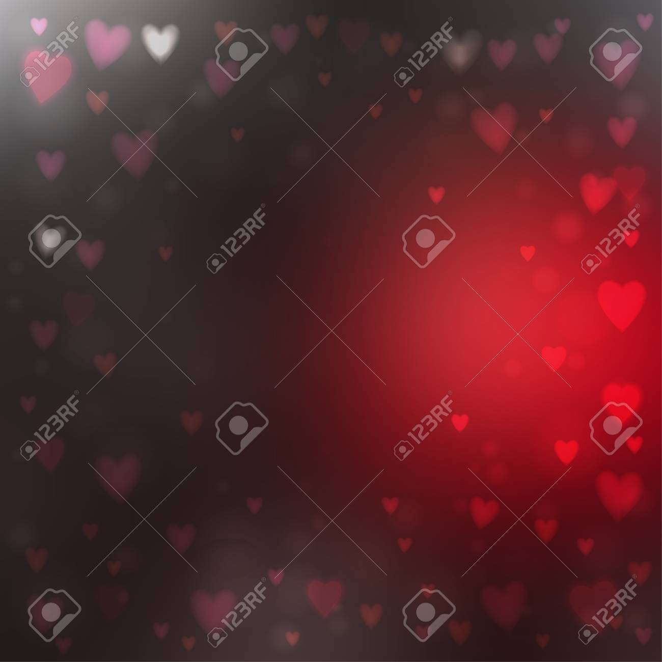 Abstract square blur red and gray background with small heart-shaped lights over it. - 126348001
