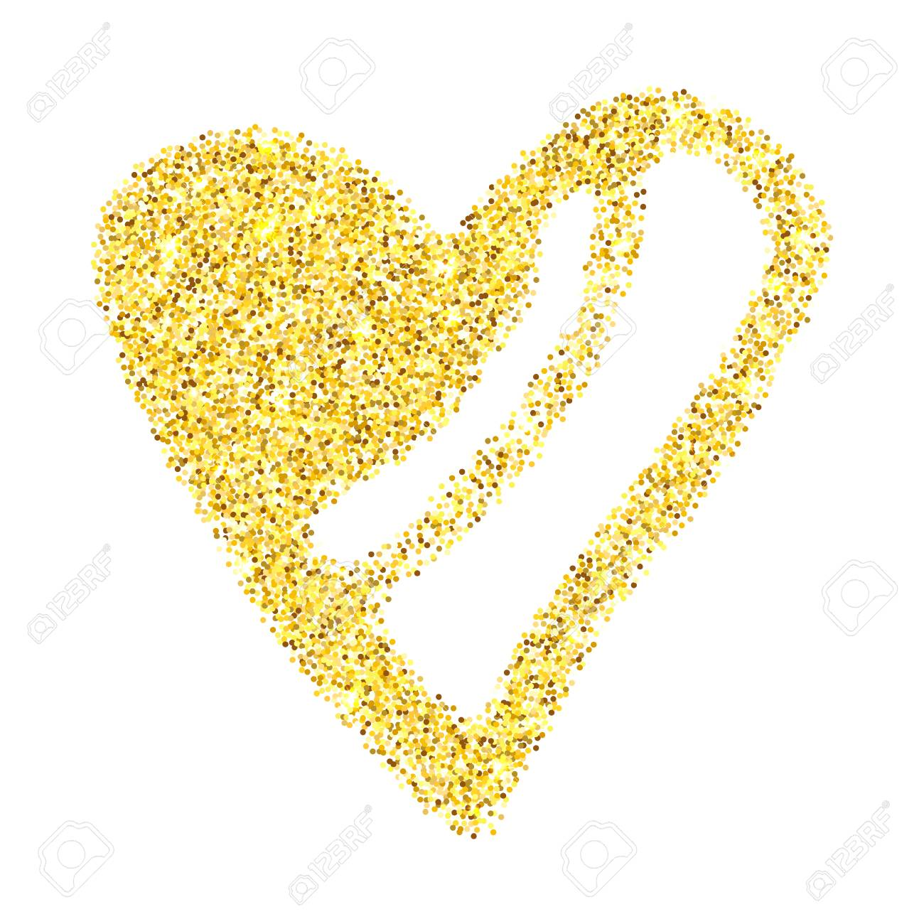 Gold glitter heart isolated over white background. Happy Valentines Day golden glamour design element. - 125130688