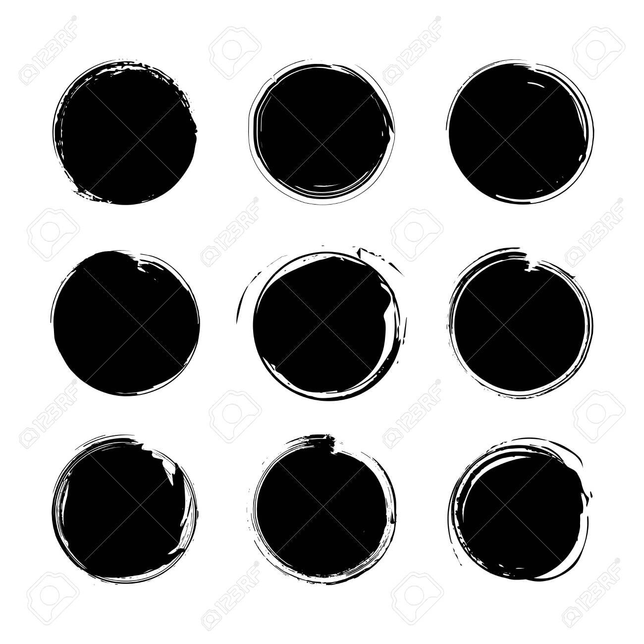 Collection of miscellaneous black grunge round brush strokes isolated over white background. Set of design elements. Vector illustration. - 135835589