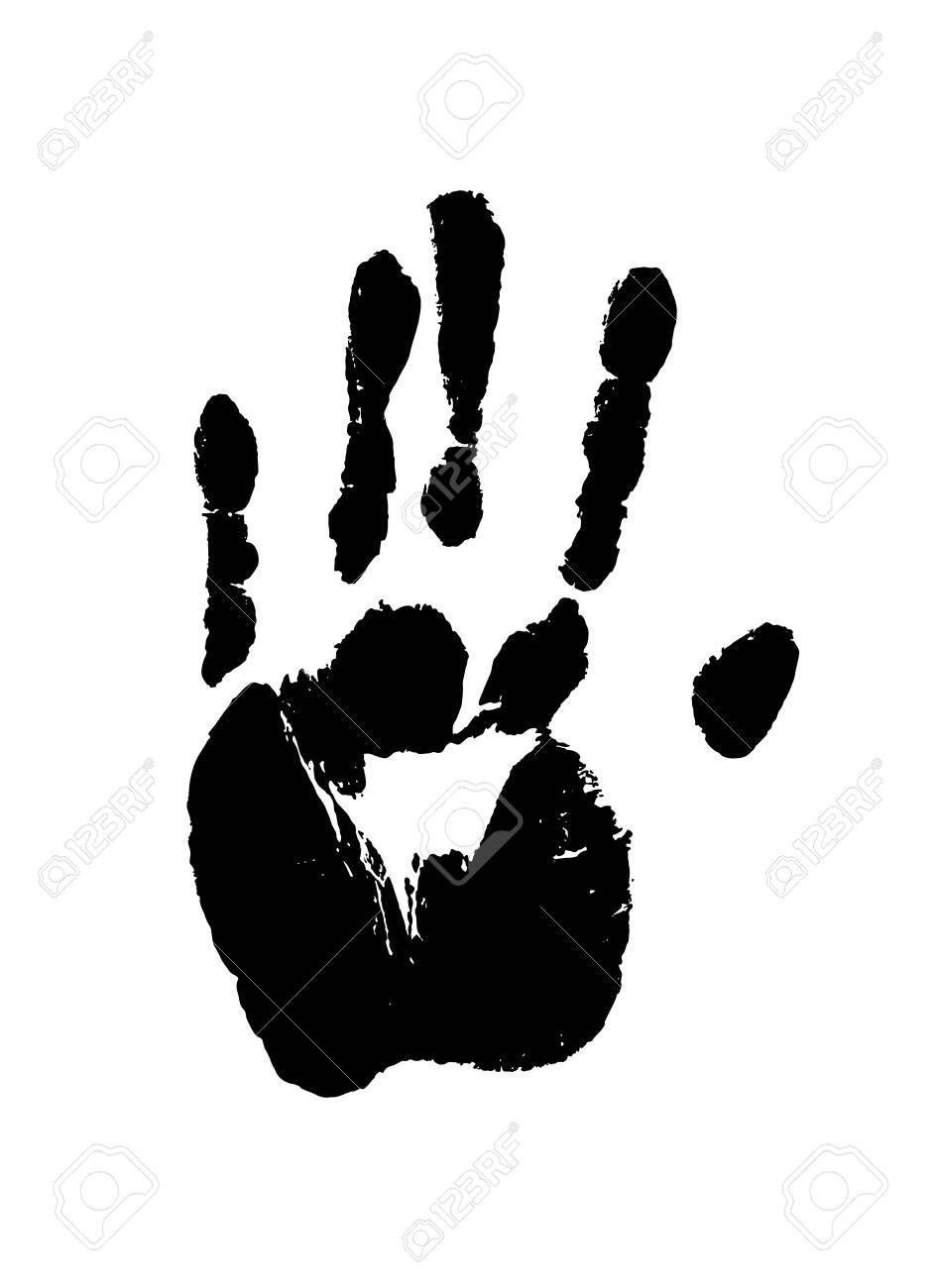 Print of a human hand. Palm imprint in black isolated over white. Vector grunge illustration. - 147419976