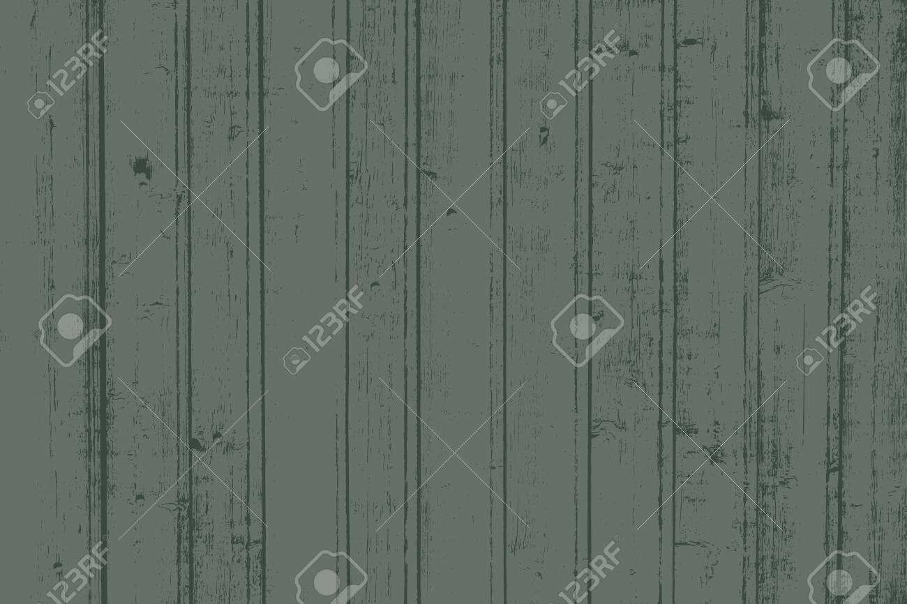 Grunge wood overlay horizontal texture. Vector illustration background in dark muted green, horizontal format. Natural rustic distressed backdrop. - 147806857