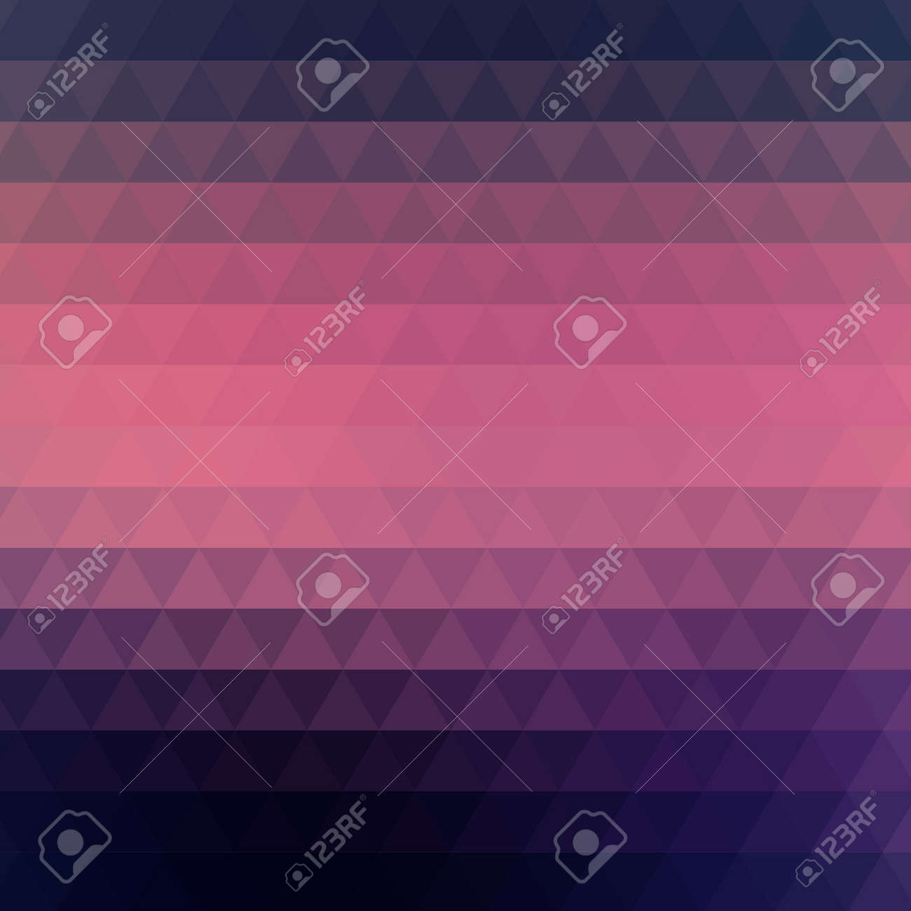 Vector abstract geometric background formed with triangles in rows, square format. Dark blue and pink wallpaper. - 169882797
